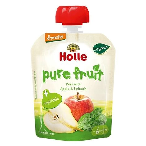 Pear Apple And Spinach Baby Food Pouch Organic Holle Banana Baby Food Baby Food Recipes Baby Food Containers