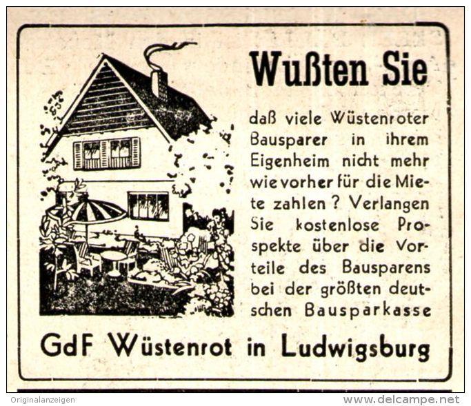 Original-Werbung/ Anzeige 1950 - GDF WÜSTENROT / LUDWIGSBURG - WÜRTTEMBERG - ca. 50 x 45 mm