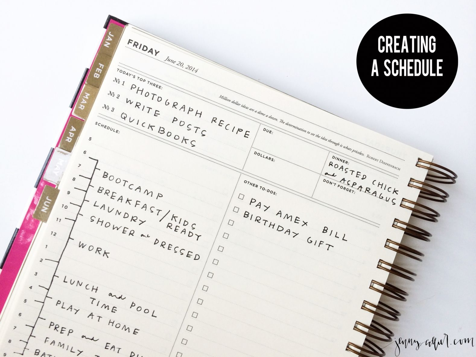 creating a schedule create planners and organizations