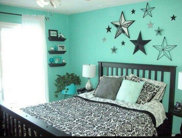 Mint Green And Black Bedroom Scheme Teenage Girl Bedroom Decor