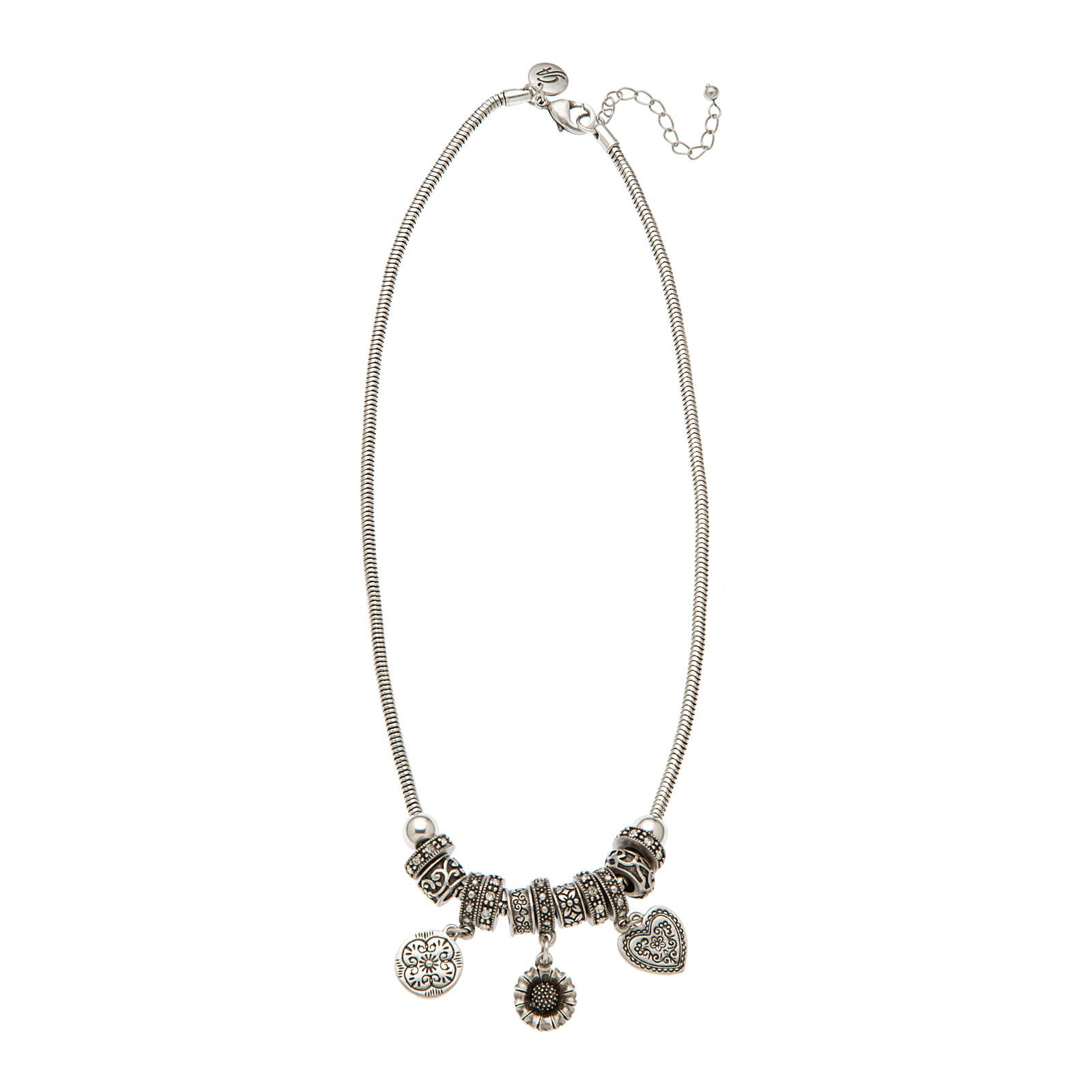 "Layer pretty details into your style with this sweet necklace. Count it casual or dress it up for date night. Charms Collection    •  Silver tone  •  18"" length •  Lobster clasp"