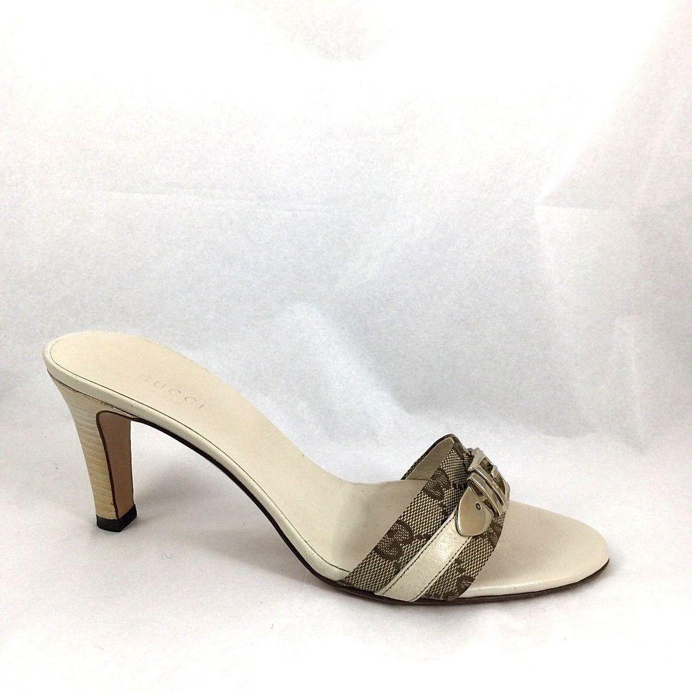 Gucci Mule Guccissima Gg Canvas Open Toe Slide Slip On Heel Sandal