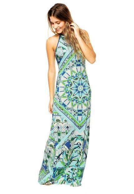 Vestido Longo Colcci Estampado Azul - Marca Colcci
