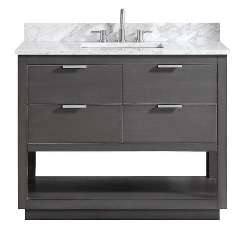 Avanity 43 Inch Allie Vanity Twilight Gray W Silver Trim W