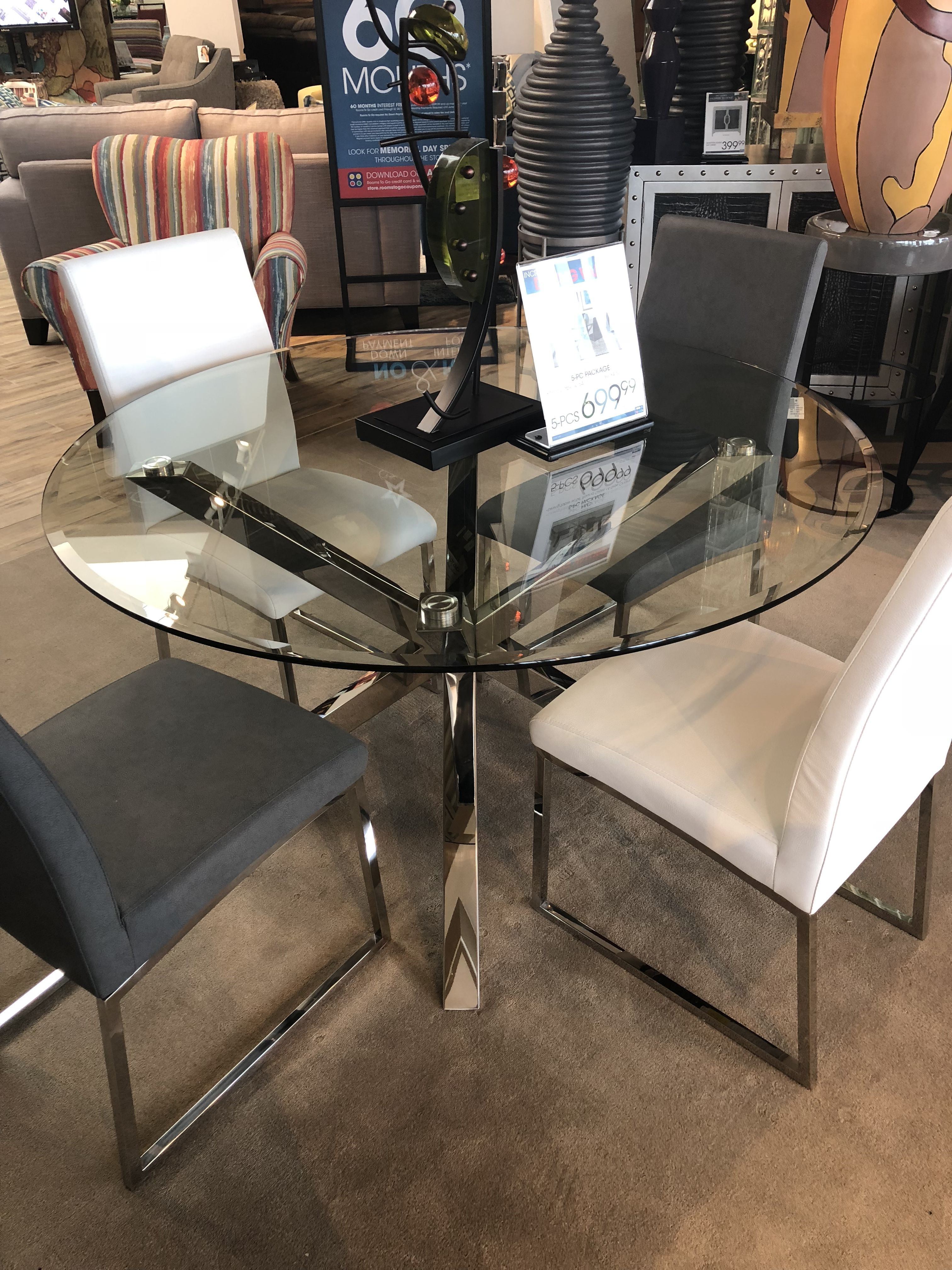 Dining Room Table Glass Table Silver Centerpiece Gray Chairs White
