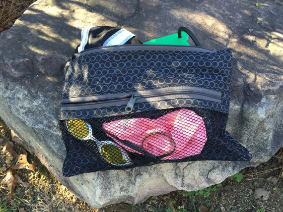 Swim bag with a mesh front zippered pocket. small 13 x 8.