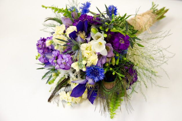 Blue Purple Soft Yellow And Cream Wedding Flowers By Living Fresh Flower Studio And School