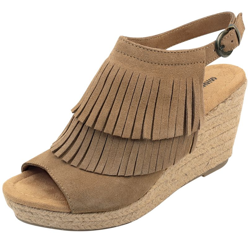 Women s Minnetonka Ashley Taupe Fringe Wedge Shoes  8b155b64c