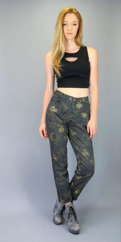 Vintage 90s feminine high waist floral print cotton trousers skinny jeans