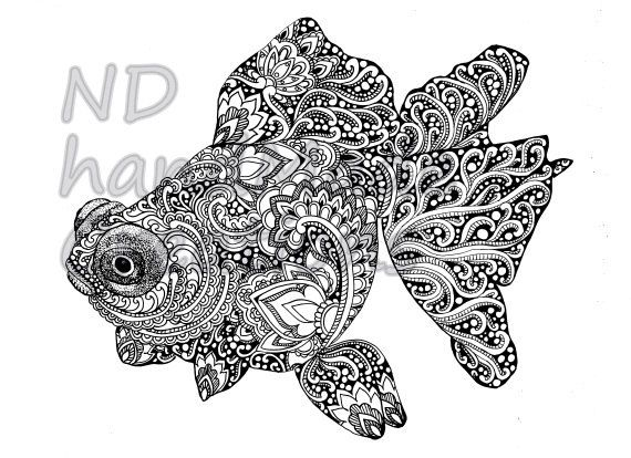 Paisley Doodle Fish N7 Pattern Printable Coloring Book Sheet Adults Children PDF JPG Instant Download Quirky