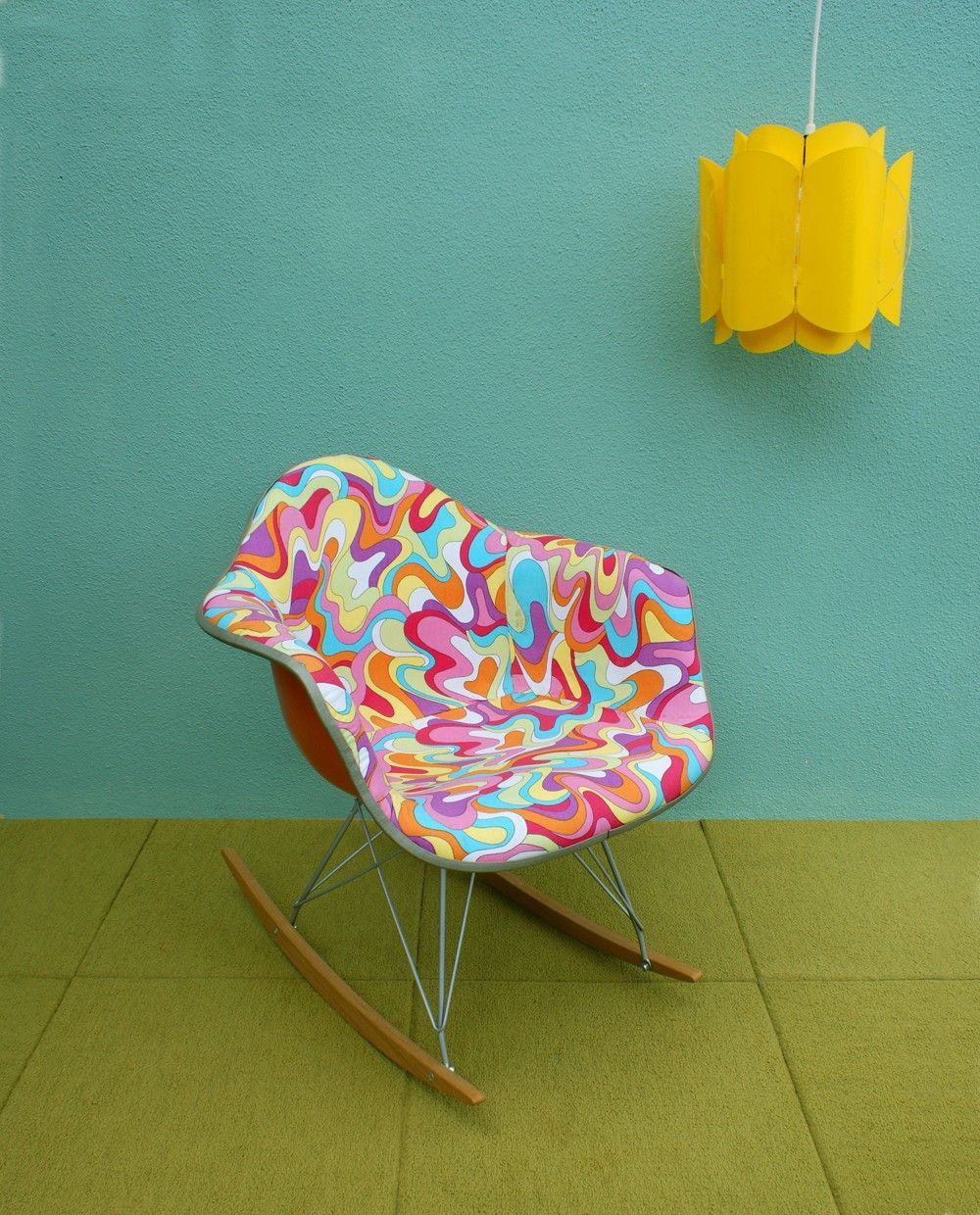Vintage Psychedelic Eames Herman Miller Style Shell Rocker Chair