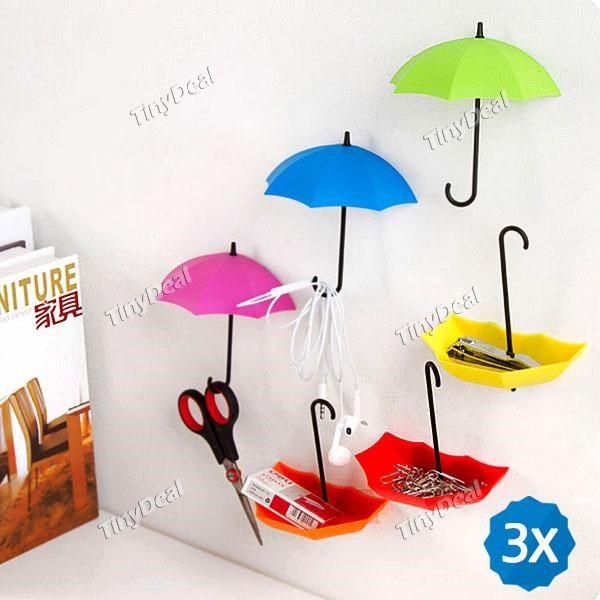 3pcs Umbrella Style Single Hanging Key Hook Wall Hanger Viscose Decoration - Assorted Color HHI-438266