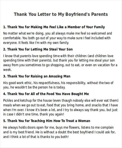 Sample Thank-You Letter to my Boyfriend- 5+ Examples in ...