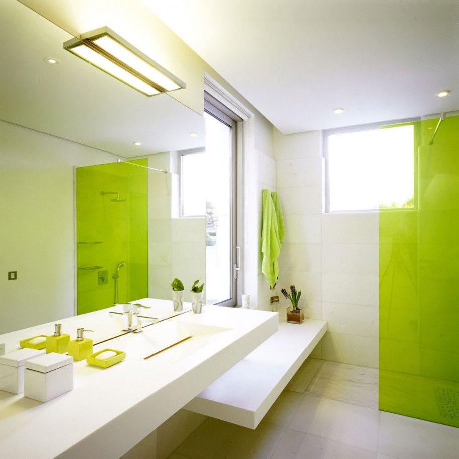 White bathroom decor ideas - Modern Green And White Bathroom Decorating Ideas With Modern White Sink Design Complete With The Mirror