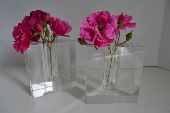 Pair Of Lucite Vases Bud Vases Modern Acrylic Vase Lucite