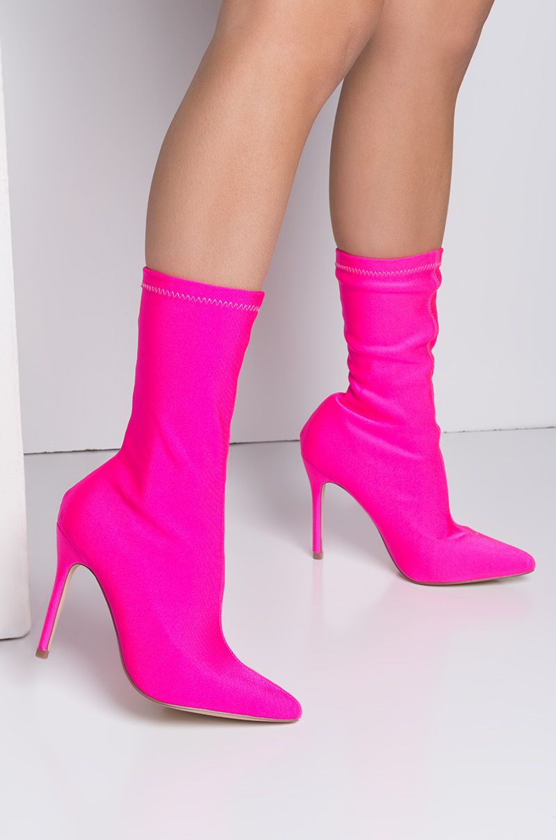 edaa2ca5ac Cape Robbin Lycra Pointed Toe High Stiletto Sock Bootie in Neon Pink $45