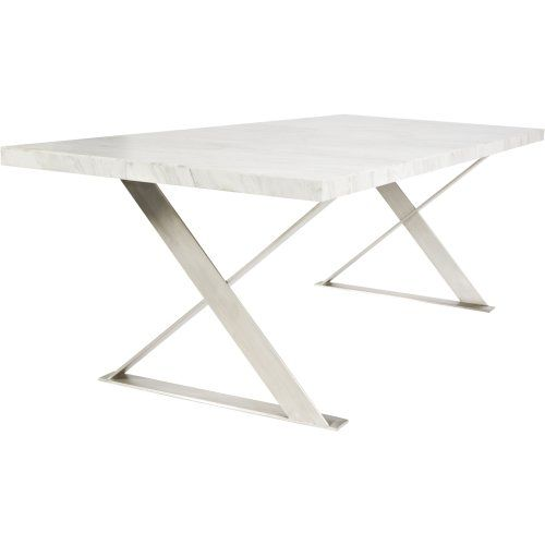 Venice Marble Top Dining Table With Stainless Steel Legs Urban