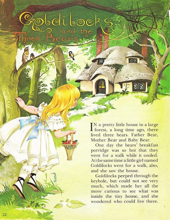Goldilocks and the Three Bears - Vintage Illustration Storybook Print - Deans A Book of Fairy