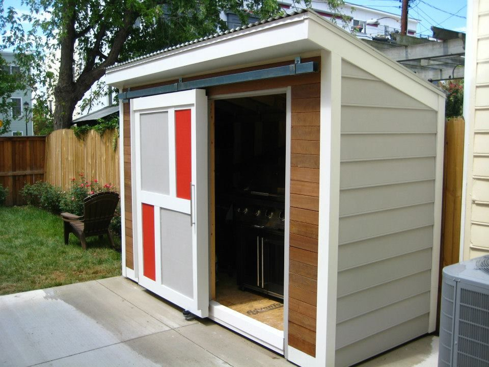 Modern garden shed paint the colours of our house though for Exterior shed doors design