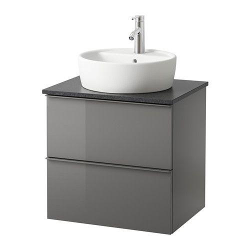 GODMORGON/ALDERN / TÖRNVIKEN Allaskaluste+allas 45+taso - 62x49x74 cm, musta kivikuvio, korkeakiilto harmaa - IKEA