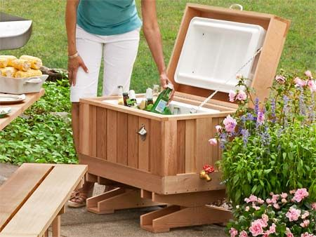 How To Build A Cedar Ice Chest Patio Cooler Outdoor