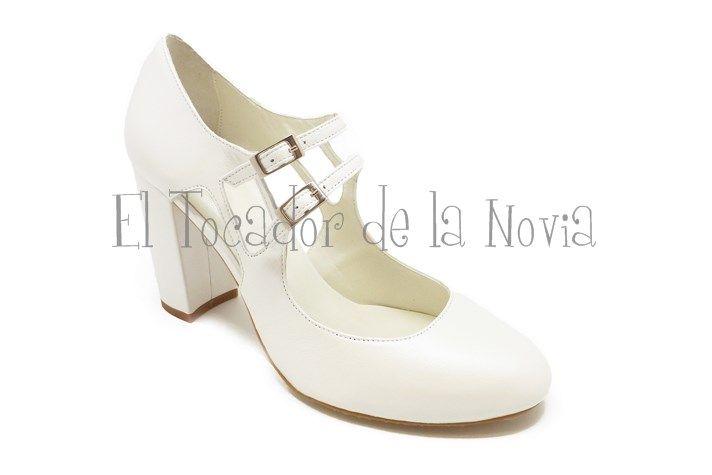 ref.6156 | zapato novia tacon ancho y dos hebillas | somos novios i