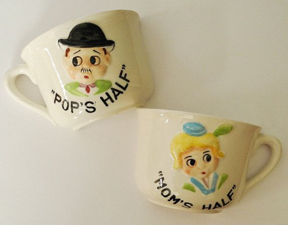 Vintage Mugs  Cups  MOM  &  POP  Half cups by madilyns on Etsy, $15.00