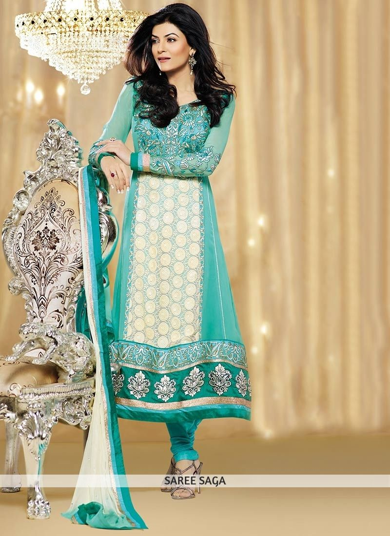 Elite Turquoise Faux Georgette Embroidered Anarkali Suit