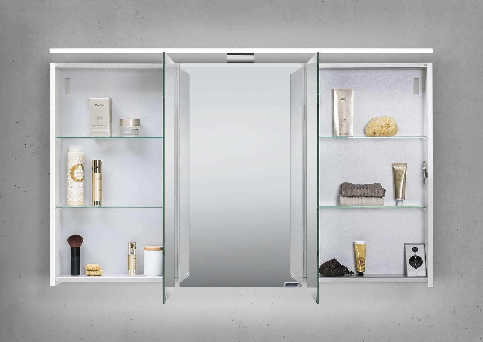 Spiegelschrank 120 Cm Led Beleuchtung Doppelseitig Verspiegelt In 2020 Badezimmer Spiegelschrank Spiegelschrank Badezimmer