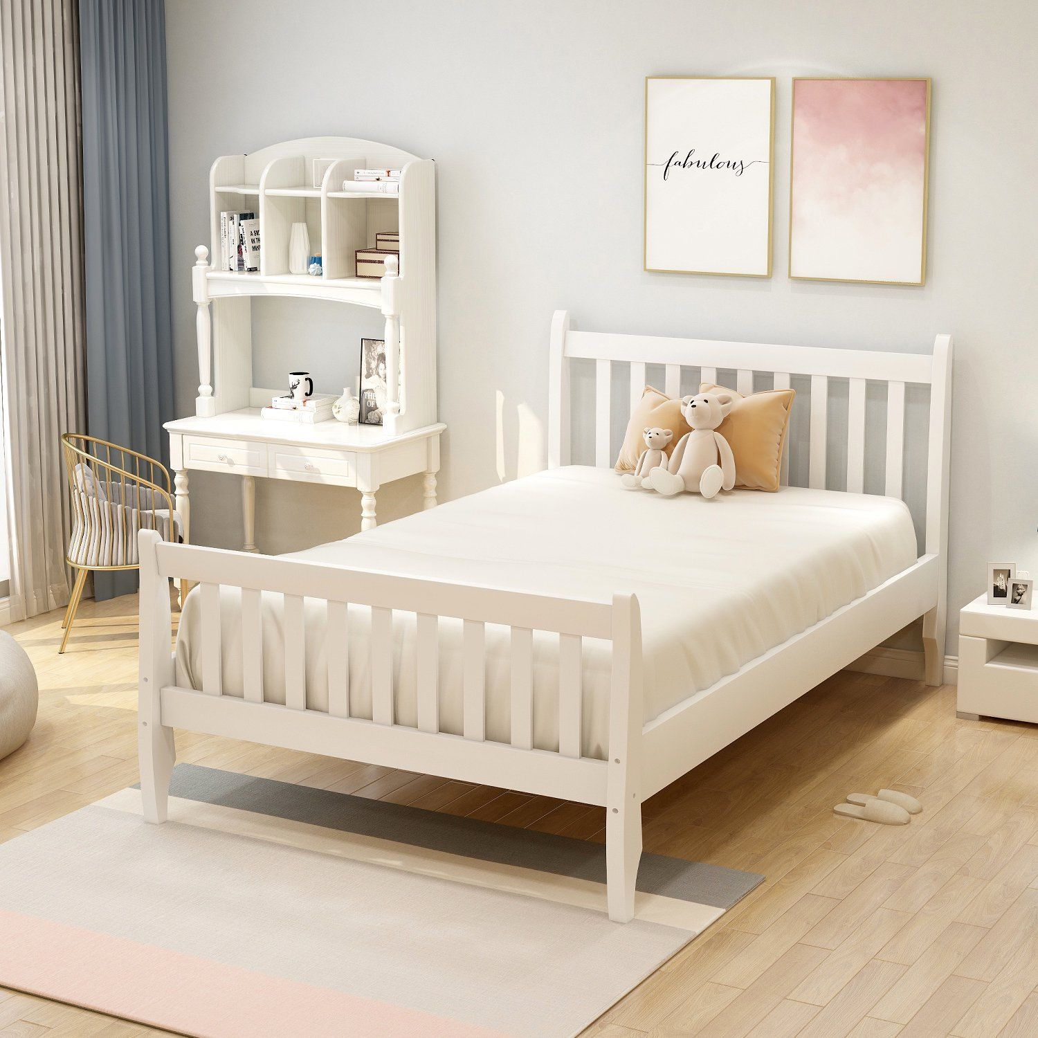 Jumper Bed Wood Twin Bed Upholstered Platform Bed Twin Bed Frame Mattress Foundation With Headboard And Footboard Multiple Colors Walmart Com Twin Bed Frame Bed Frame Mattress Twin Platform Bed Twin bed frame with headboard and footboard