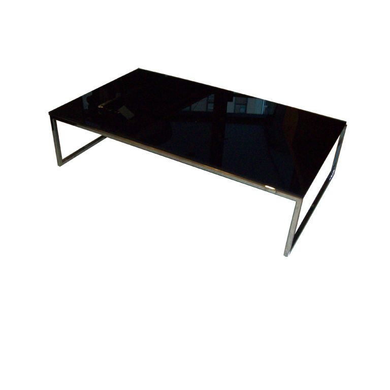 Modern Low Chrome Coffee Table W Black Glass Top Glass Top