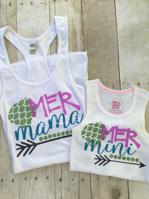 d1d2d03a Mermaid Mommy & Me Tank Top - Mommy and Me Tanks - Mer Mama - Mer Mini -  Mini Me - Mermaid Shirts by OurLilBowtique