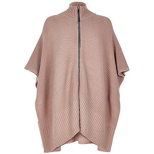 Blush pink ribbed zip poncho - River Island £38.00