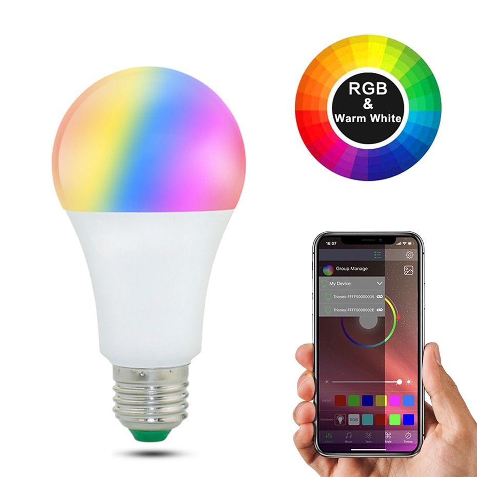 20 Modes Dimmable E27 Rgb Led Smart Bulb 15w Bluetooth Magic Lamp Rgbw Rgbww Smart Lamp B22 Music Control Apply To Ios Andro In 2020 Smart Bulb Led Smart Bulb Rgb Led