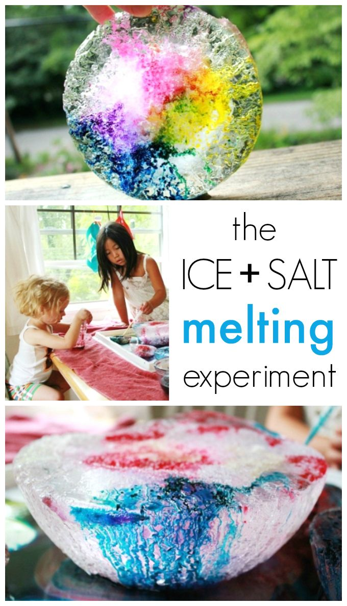 Melting Ice Science Experiment With Salt And Liquid Watercolors Science Experiments Kids Science For Kids Kid Experiments