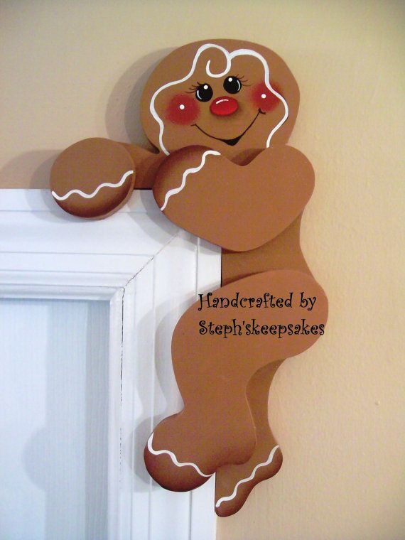 Hand Painted Gingerbread Door Huggers by stephskeepsakes on Etsy, $12.99