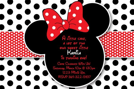 custom red and black polka dot minnie mouse invitation or thank you
