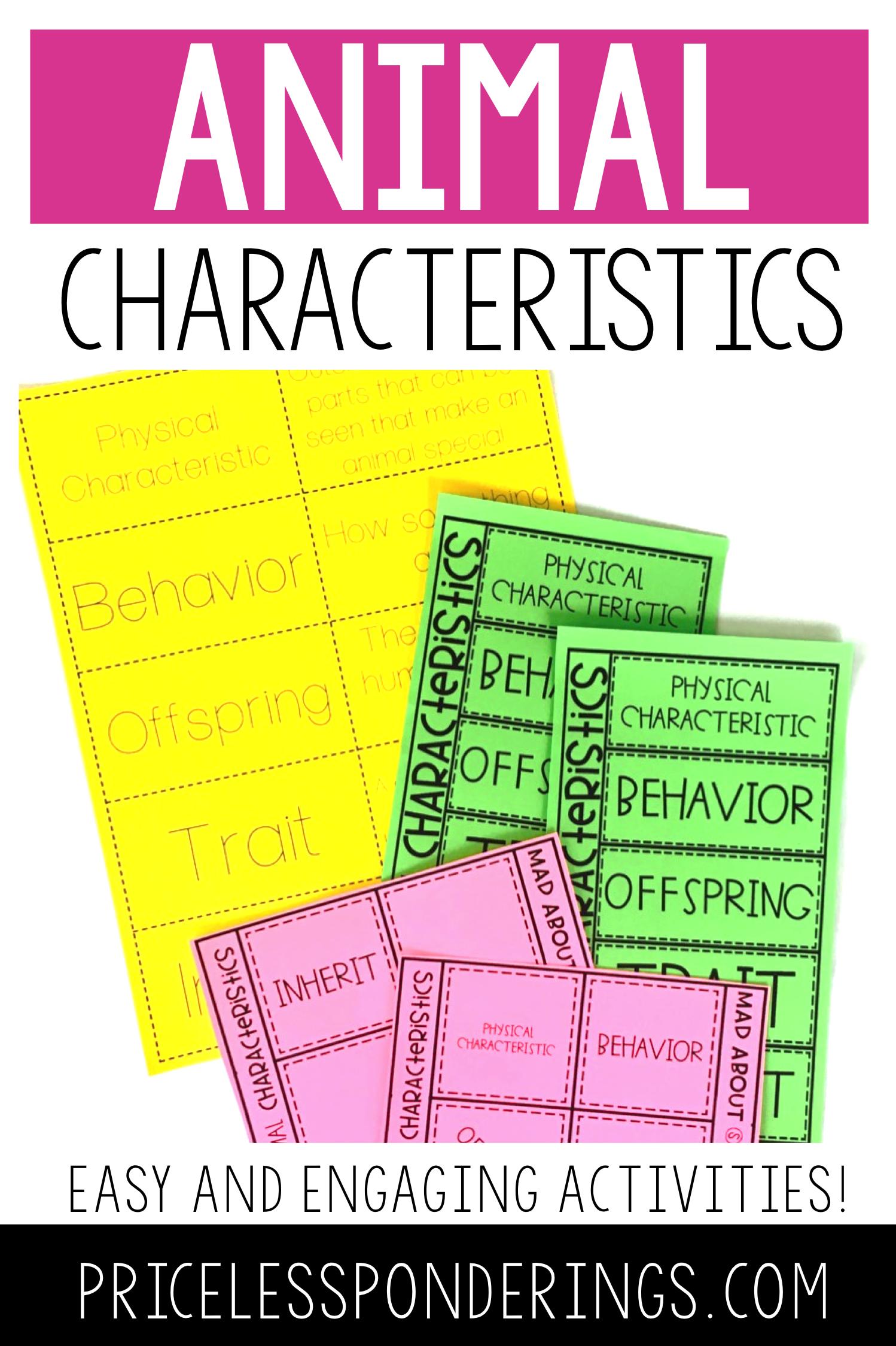 Animal Characteristics Activities And Worksheets