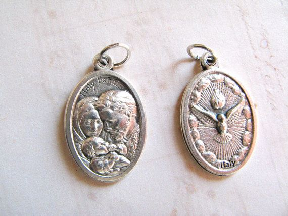 Holy Family / Holy Spirit Silver Tone Medal  by RachelRode on Etsy