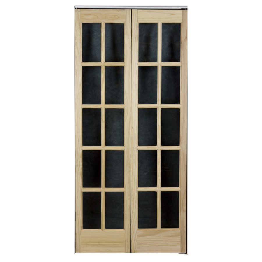 Shop Pinecroft 10 Lite French Solid Core Pine Bifold Closet Door Common 30 In X 80 5 In Actual Glass French Doors French Doors Interior French Front Doors