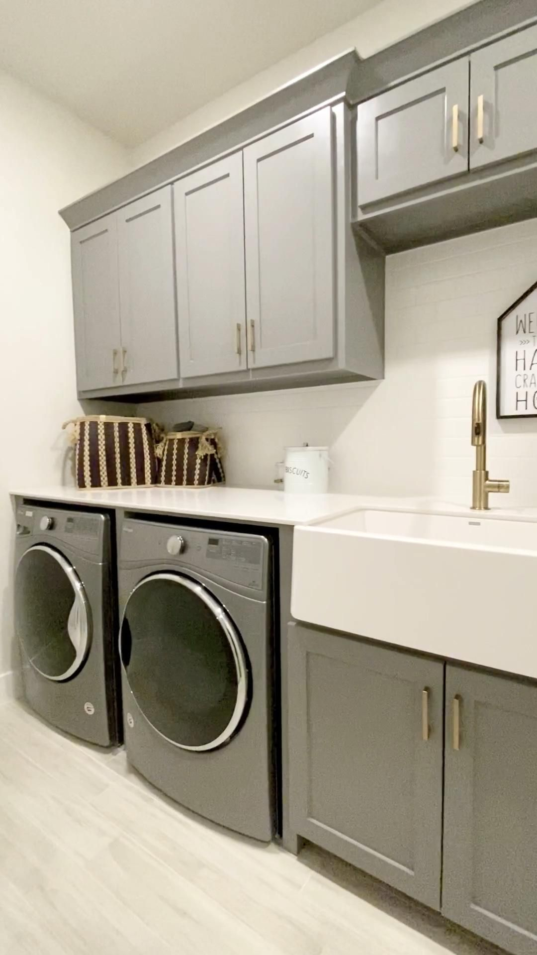 Laundry Room Ideas Discover Laundry Room With Gray Cabinets Gold Hardware Beautiful Utilit In 2020 Laundry Room Makeover Laundry Room Renovation Laundry Room Storage
