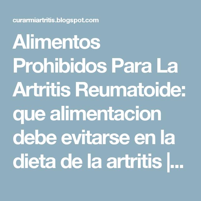 Alimentos malos para la artritis