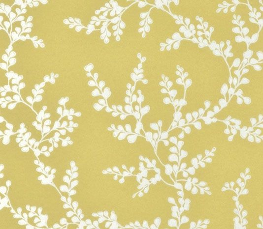 Shadow Fern Floral Wallpaper Metallic Silver Print On Strong Yellow