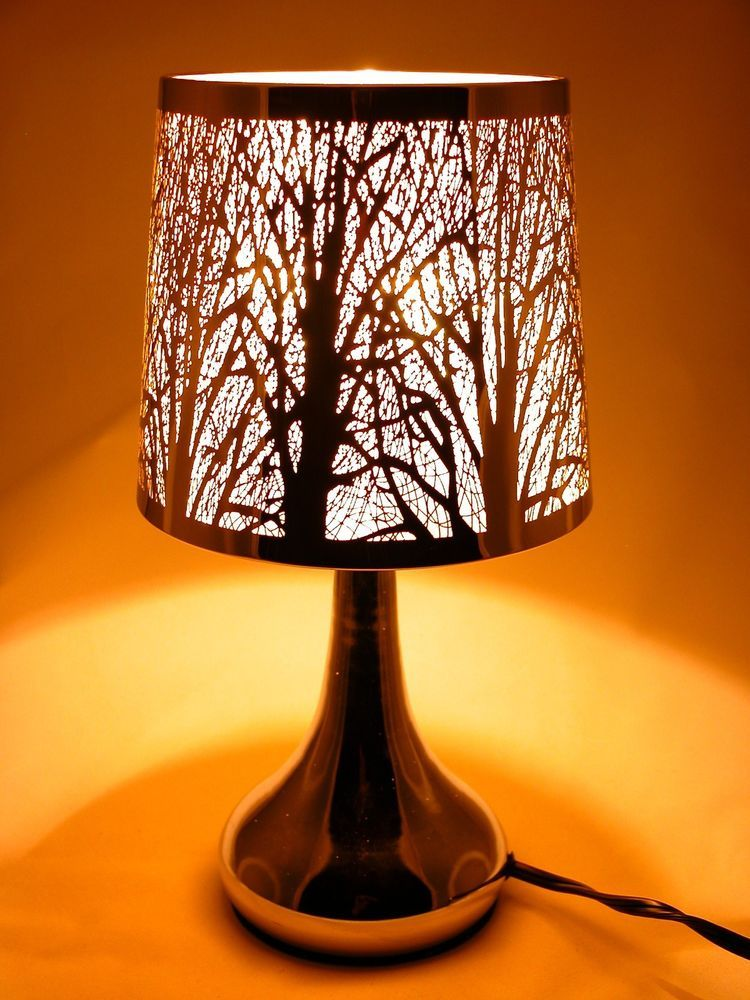 Stainless Steel Table Touch Lamp Tree 12 6 White Silver Color Shade Base Silver Table Lamps Touch Lamp Stainless Steel Table