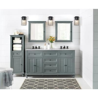 Photo of Home Decorators Collection Hamilton 61 in. W x 22 in. D Double Bath Vanity in Ivory with Granite Vanity Top in Grey-10806-VS61H-DW – The Home Depot