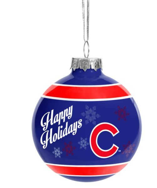 Cubs Christmas Ornaments.Chicago Cubs Happy Holidays Christmas Ornament Blue