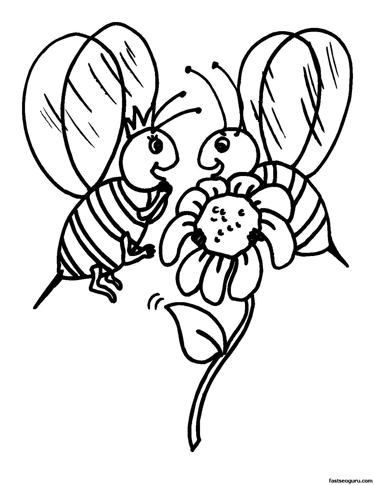 printabel coloring pages animal bee printable   Graphics & stencils ...
