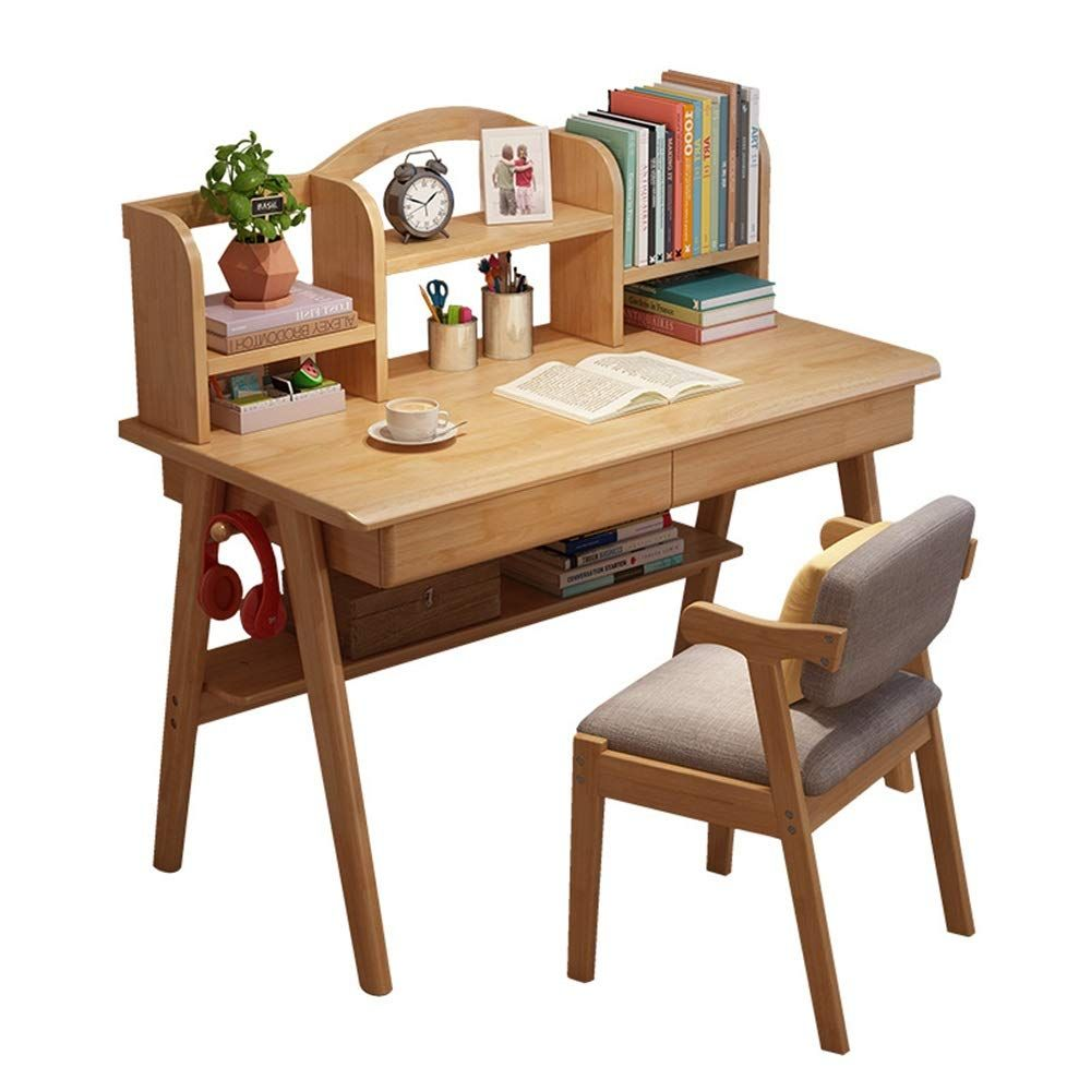 Qiupei Kids Study Table Children S Media Desk And Chair Set Student Study Computer Workstation Wooden Ki In 2020 Kids Study Table Study Table Designs Wooden Study Desk