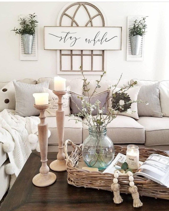 40 Rustic Living Room Ideas To Fashion Your Revamp Around: Lovely Farmhouse Living Room Decor Ideas 35