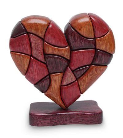 Wood Heart Sculpture Statuette Hand Carved In Peru Heart Of Love